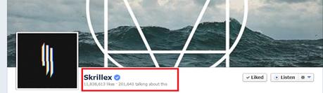 Skrillex most popular on Facebook