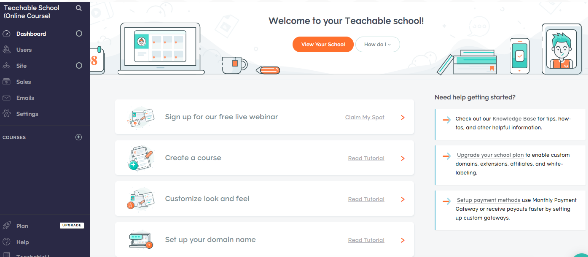teachable dashboard